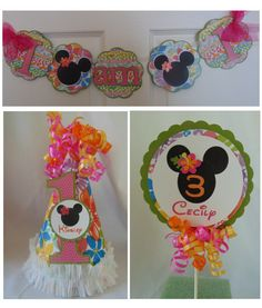 Minnie Mouse Luau Smash Cake Party Package by ASweetCelebration Luau Birthday, Mickey Mouse Birthday, 3rd Birthday Parties, Birthday Celebration, Luau Party Centerpieces, Minnie Mouse Party Decorations, Mickey Mouse Clubhouse Party, Cake Party, Party Package