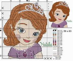 Sofia the first cross stitch - Bing Images Disney Cross Stitch Patterns, Cross Stitch For Kids, Cross Stitch Baby, Cross Stitch Charts, Cross Stitch Designs, Disney Stitch, Cross Stitching, Cross Stitch Embroidery, Sofia The First Cartoon