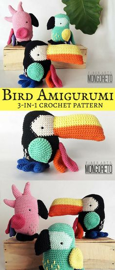 Cool crochet combination pack which allows you to create your own Toucan, Parrot and Cockatoo. They'll definitely cheer up your house with their bright colors! #amigurumi #ad #birds #pattern