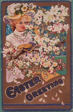 Antique Easter Postcard Victorian Woman in Easter Bonnet from ruthsredemptions on Ruby Lane