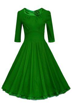 ANGVNS Elegant Damen 1950er Retro Vintage Abendkleider O Ausschnitt 3/4-Arm Party Cocktailkleid Weinlese Rockabilly Swing Kleid mit Spitze Knielang Rot Gr.42