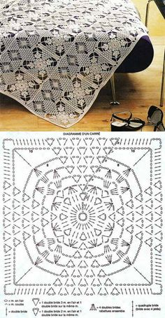 crochet doily with diagram by Crochet Bedspread Pattern, Granny Square Crochet Pattern, Crochet Diagram, Crochet Chart, Crochet Squares, Thread Crochet, Filet Crochet, Crochet Motif, Crochet Designs