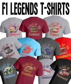 F1 racing legends helmet tshirts