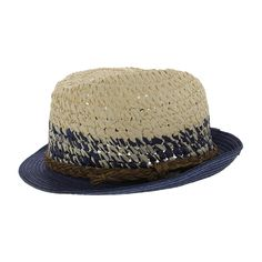 KIDS Our fedora gets a warm weather update in fashionable straw with colorblock woven detailing.