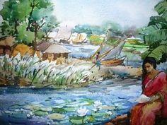 Bangladeshi Village Watercolor Painting by Celebrated Artist Samiron