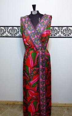 1960's Mod Maxi Dress, Pink, Green, Red, Blue Floral Print, Full Length Hawaiian, Large / XL Honeymoon Dress on Etsy, $69.00