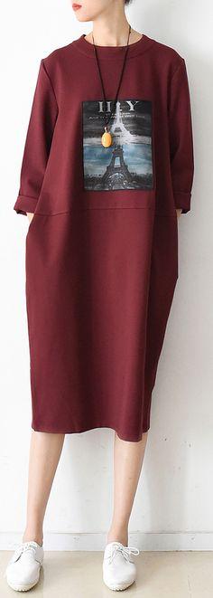 Autumn new red prints cotton dresses plus size casual thick maxi dress1