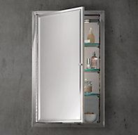 RH's Framed Lit Right-Opening Inset Medicine Cabinet:Our expertly crafted framed lit inset medicine cabinets perfectly coordinate  with any of our bath collections.