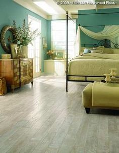 love this room! so soothing!  distressed white washed oak