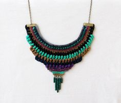 Crochet bib necklace/ statement necklace/ colorful necklace/ textile jewelry/ fiber necklace/ boho hippie/ ethnic inspired/ blue purple mint on Etsy, €32,00