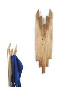 coat rack made with old skateboard decks