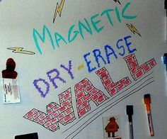 instructions to paint a magnetic dry erase wall - maybe do the same for the door from the garage?