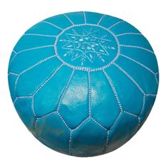 Turquosie Moroccan Leather Pouf