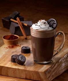 Hot chocolate from Moonstruck Chocolate Co., in Portland, Oregon, inspired by the shop's own truffle collections