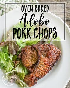 Oven Baked Adobo Pork Chops {Paleo, Low-Carb & Keto} Paleo Keto Recipes, Healthy Crockpot Recipes, Easy Healthy Dinners, Pork Recipes, Healthy Dinner Recipes, Diet Recipes, Healthy Food, Vegetable Nutrition, Vegetable Recipes