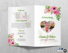 In Loving Memory Modern Floral Burgundy Greenery Funeral Program