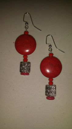 Red and Silver Tone Earrings