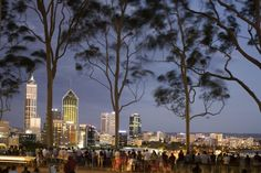 Australia Day, Western Australia  People in Kings Park watching fireworks on Australia Day with Perth skyline in background.