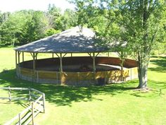 60' covered round pen with 5' walls & lights, wonder what something like this costs?