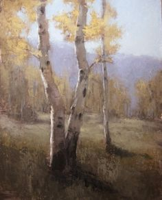 Aspen tree painting and five exhibitions, painting by artist Jane Hunt