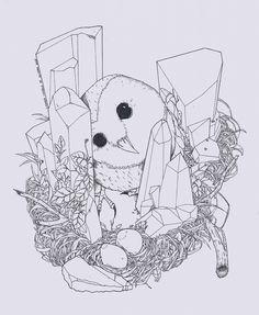 #owl #illustration #linniker #artwork #nest #ninho #eggs #ovos #coruja #crystal #cristais #nanquim #ink