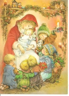 Lisi Martin is a Spanish artist and illustrator famous for her highly detailed and romanticized pictures of children. Lisi was born in Barcelona, Catalonia in Christmas Scenes, Christmas Nativity, Christmas Past, Christmas Pictures, Xmas, Christmas Diy, Vintage Greeting Cards, Vintage Christmas Cards, Vintage Postcards