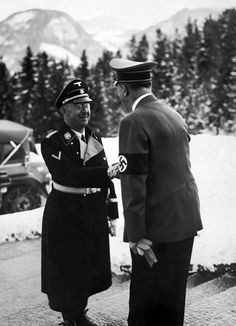 Adolf Hitler greeting Heinrich Himmler at his home, the Berghof, in Berchtesgaden, Germany