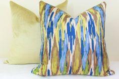 Blue brown green ikat velvet pillow cover 18x18 20x20 22x22 24x24 26x26 28x28 Euro sham Blue Lumbar pillow 12x20 12x24 14x24 14x26 16x26 36