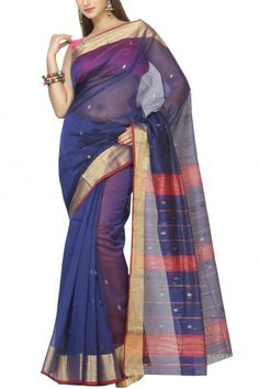 Midnight Blue & Zari Cotton Silk Maheshwari Saree