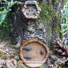 Wood Fired Pottery Fairy Door and Window Set #4 by HeritageVision on Etsy
