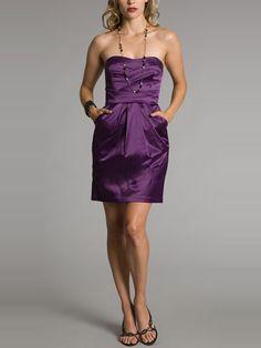 2014 Style Sheath/Column Strapless Ruffles Prom Dresses #GF098.....pockets!