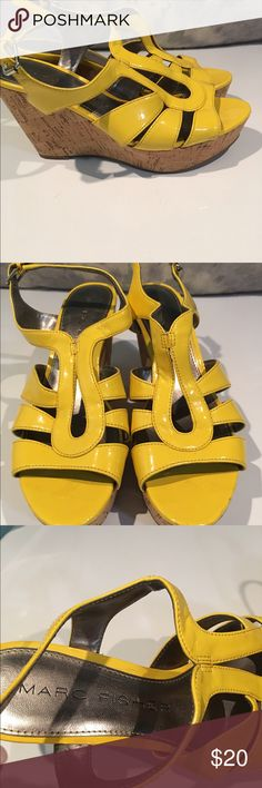 Marc Fisher BOLD Yellow Wedges size 7.5 Great great great Wedges!!! We are cleaning out closets and have many designer items that need to find a new home for. Size 7.5.    Bundle bundle bundle!! Marc Fisher Shoes Wedges