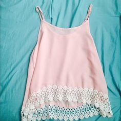 Pink top White holes Tops Muscle Tees