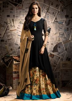 Black #kurti #style asymmetrical georgette #kameez in georgette embellished with tassels and architectural embroidery.