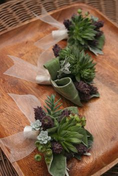 Boutonnieres succulents and lavender