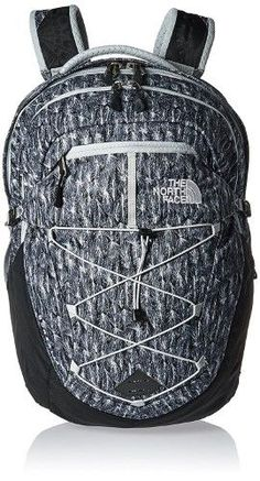 The North Face Womens Borealis Backpack High Rise Grey Feather Leaf Print / TNF, Black