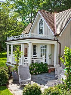 Hide a Porch Base with Plants: A low hedge or flowerbed just outside the porch at its boundary can help to hide an otherwise uninteresting part of the structure. Those can also soften the space between house and landscape, and add color and plant interest, too.