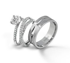 Besotted with this stunning engagement and wedding ring set from Simon G!