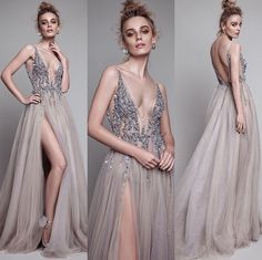 Long Backless Grey Sexy Prom Dresses With Slit Rhinestone See Through Evening Gowns Prom Gowns, Evening Dresses, Ball Gowns, Wedding Dresses, Bridesmaid Dresses, Night Gown Dress, Elegant Dresses, Beautiful Dresses, Formal Dresses