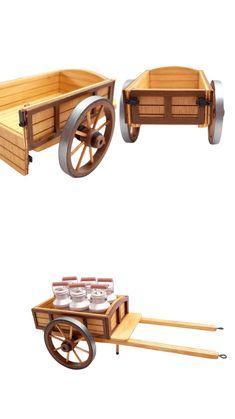 petit chariot miniature deux couleurs pour santon