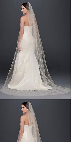 Shining Tulle Long Wedding Veil With Beadings,WV0121#Wedding Veil#