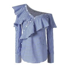 Spring Summer Women One Shoulder Off Ruffles Blouse Tops Casual Blue White Striped Shirts Long Sleeve Costume Blue XL Blue And White Striped Shirt, Striped Long Sleeve Shirt, Long Sleeve Shirts, Striped Shirts, Off Shoulder T Shirt, Pencil Skirt Outfits, Ruffle Shirt, Work Tops, Crop Shirt