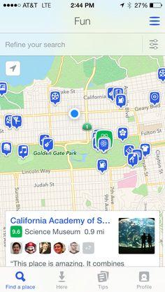 Foursquare - fun nearby - map view