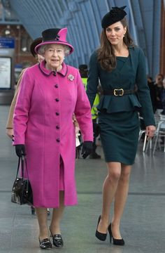 The Queen and Duchess Kate depart from St. Pancras Station to visit De Montfort University in Leicester, on March 8, 2012, marking the official start of the Diamond Jubilee tour.