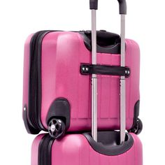 Unlike so many travelers today and check my luggage and pack a small carry-on bag.  It makes it easy for me to board and deboard without injury.  I prefer something with color. Travelers Choice Luggage Glacier 16-Inch Hardshell Expandable Rolling Briefcase, Raspberry, Small Carry-on with compartments for your clothing, computer, and items like prescriptions, etc.   This one is great to piggy-back on my checked luggage.