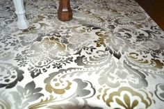 Allover stencil floorcloth Painted Floor Cloths, Painted Floors, Family Rooms, Fireplaces, Stencil, Cottage, Ceiling, Hand Painted, Flooring