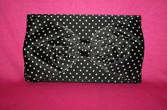 Betsey Johnson Black Pink Polka Dot Satin Bow Wristlet Clutch Purse Vintage | eBay