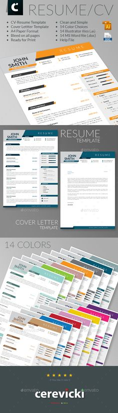 Dinamic looking Resume-CV & Cover Letter Template Vector AI, DOC. Download…