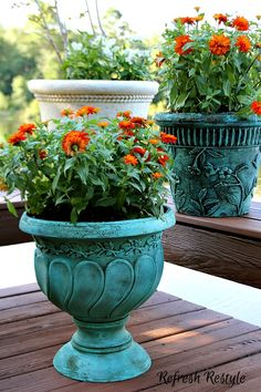 Decorative Urns For Plants Pleasing Update Concrete Planters With A Wash Of Provence Chalk Paint Design Inspiration
