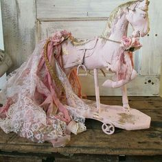 Painted horse statue pink and gold shabby cottage chic figure embellished w/ rhinestone and tattered dyed lace fabric anita spero design Homemade Paint, Hama Beads Patterns, Vintage Horse, Shabby Chic Cottage, Vintage Fabrics, Vintage Gifts, Retro, Altered Art, Boho